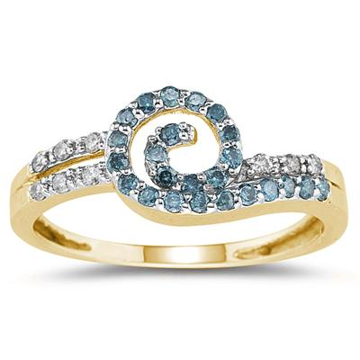 Blue and White Diamond Ring in 14K Yellow Gold