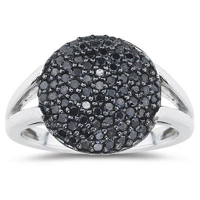 Black Diamond Ring in 10K White Gold
