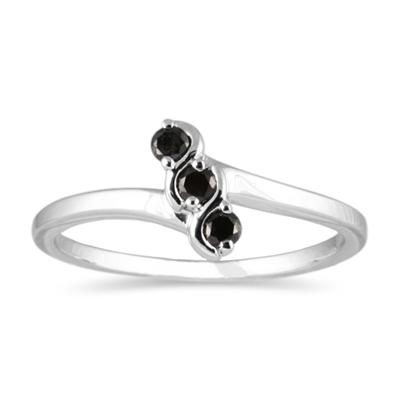 Three Stone Black Diamond Ring 10k White Gold