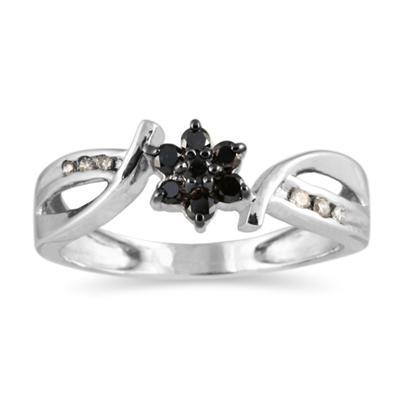 Black and White Diamond Flower Ring in 10K  White Gold