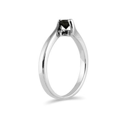 1/4 Carat Black Diamond 14K White Gold Ring