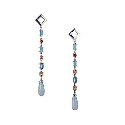 Blue Topaz and Cetrine Sterling Silver Earrings