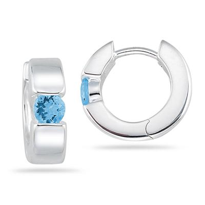 Blue Topaz Hoop Earrings in .925 Sterling Silver