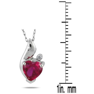 Heart Shape Created Ruby and Diamond Pendant in Platinum Plated Sterling Silver
