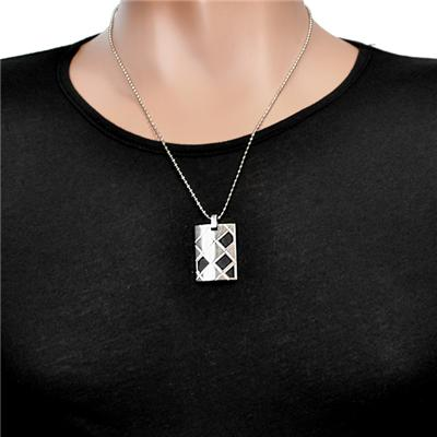 Stainless Steel Geometric Dog Tag Design Necklace