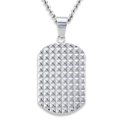 Stainless Steel Polished Geometric Pattern Dog Tag
