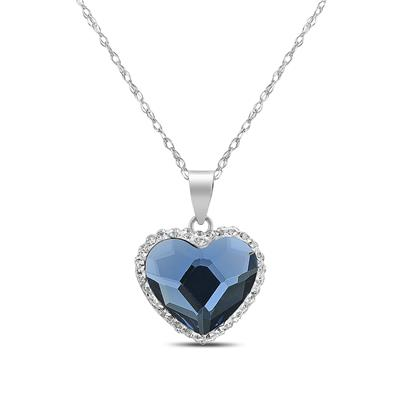 Aurora Borealis Heart Swarovski Pendant in .925 Sterling Silver