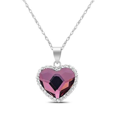 Aurora Borealis Swarovski Crystal Heart Necklace in .925 Sterling Silver