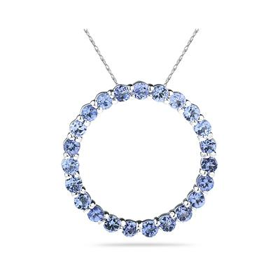 2.95ctw Tanzanite Circle Pendant in Sterling Silver