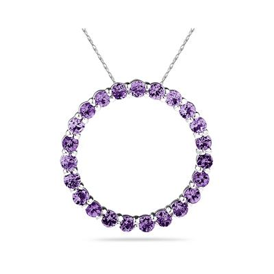 2.95ctw Amethyst  Circle Pendant in Sterling Silver