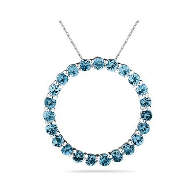 2.95ctw Blue Topaz   Circle Pendant in Sterling Silver