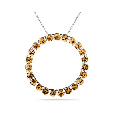 2.95ctw Citrine   Circle Pendant in Sterling Silver