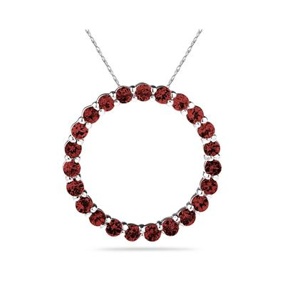 2.95ctw  Garnet   Circle Pendant in Sterling Silver