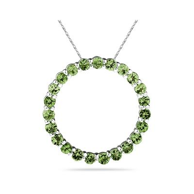 2.95ctw Peridot Circle Pendant in Sterling Silver