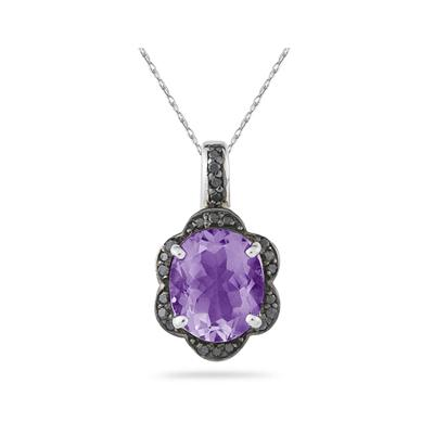 Amethyst and Black Diamond Royal Pendant in Sliver