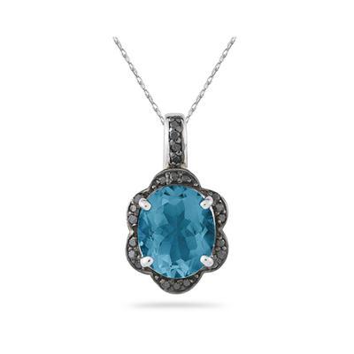 Blue Topaz and Black Diamond Royal Pendant in Sliver