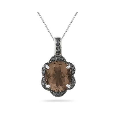 Smokey Quartz and Black Diamond Royal Pendant in Sliver