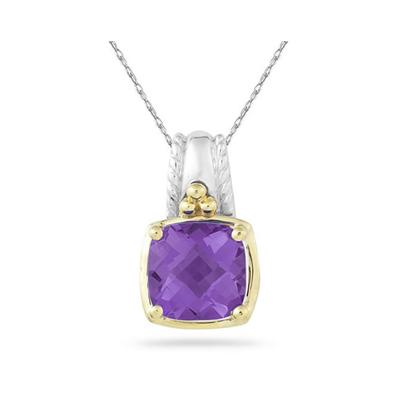 Cushion Cut Amethyst Pendant in 14K Yellow Gold And Silver