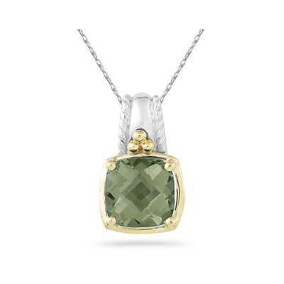 Cushion Cut Green Amethyst Pendant in 14K Yellow Gold And Silver