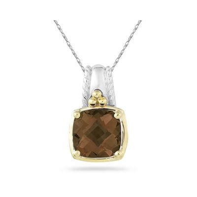 Cushion Cut Smokey Quartz Pendant in 14K Yellow Gold And Silver