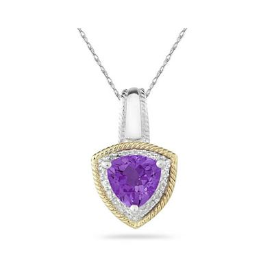 Amethyst and Diamond Pendant 14k Yellow Gold And Silver