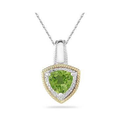Peridot and Diamond Pendant 14k Yellow Gold And Silver