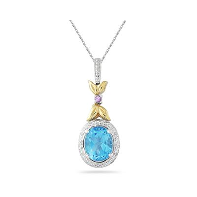 Blue Topaz and Pink Sapphire  Diamond Pendant in 14k Yellow Gold And Silver