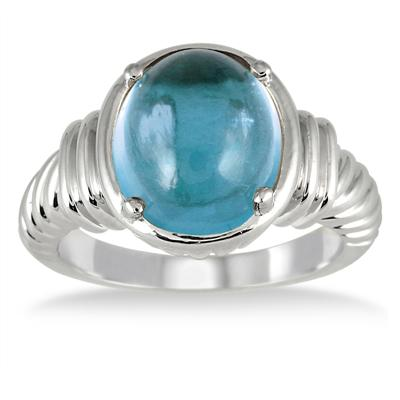 4.15 Carat All Natural Oval Blue Topaz Ring in .925 Sterling Silver