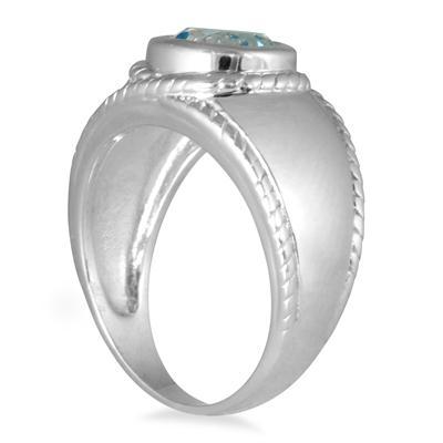 1.50 Carat Bezel Set Blue Topaz Ring in .925 Sterling Silver