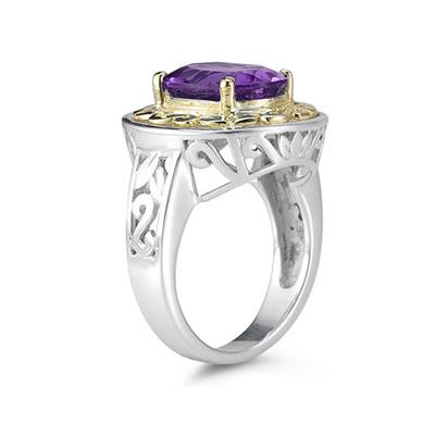 4.45ct.Oval Shape Amethyst Ring in 14k Yellow Gold and Silver