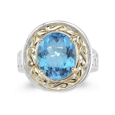 4.45ct.Oval Shape Blue Topaz Ring in 14k Yellow Gold and Silver
