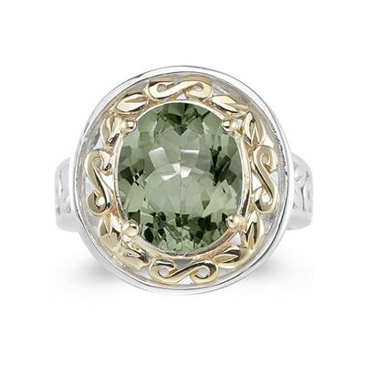 4.45ct.Oval Shape Green Amethyst Ring in 14k Yellow Gold and Silver