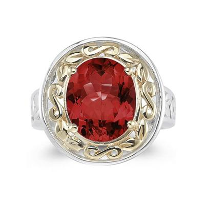 4.45ct.Oval Shape Garnet Ring in 14k Yellow Gold and Silver