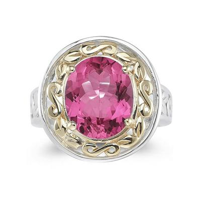 4.45ct.Oval Shape Pink Topaz Ring in 14k Yellow Gold and Silver