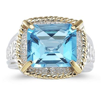 Emerald Cut Blue Topaz and Diamond Ring in 14K Yellow Gold and Silver