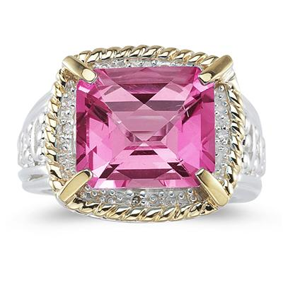 Emerald Cut Pink Topaz and Diamond Ring in 14K Yellow Gold and Silver