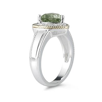 Trillion Cut Green Amethyst and Diamond Ring in 14K Yellow Gold and Silver