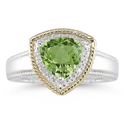 Trillion Cut Peridot and Diamond Ring in 14K Yellow Gold and Silver