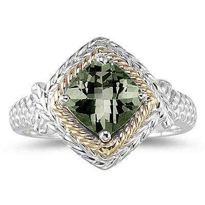 1.5ct Green Amethyst Ring in 14K Yellow Gold And Silver