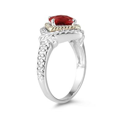 1.5ct Garnet Ring in 14K Yellow Gold And Silver