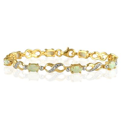 18K Gold Plated Created Opal and Genuine Diamond Bracelet in .925 Sterling Silver