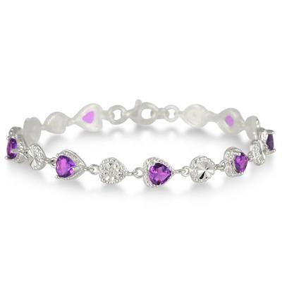Amethyst and Diamond Heart Bracelet in .925 Sterling Silver
