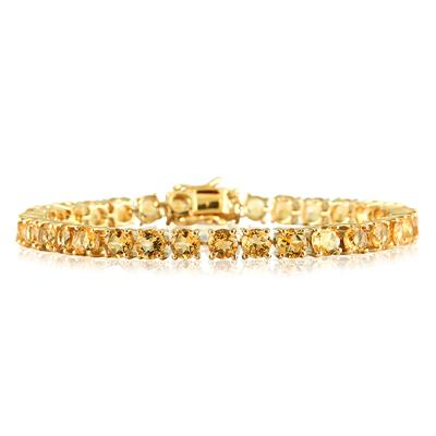 17 Carat Citrine Yellow Gold Plated Bracelet in .925 Sterling Silver