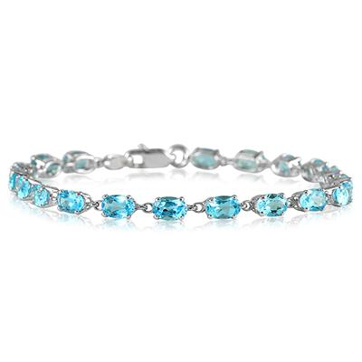 10 1/2 Carat Oval Blue Topaz Bracelet in 10K White Gold