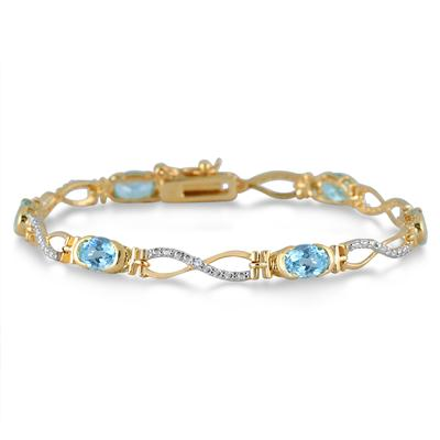 Blue Topaz and Diamond Bracelet in 18K Gold Plated Brass