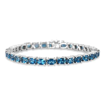 17.50 Carat All Natural London Blue Topaz Bracelet in .925 Sterling Silver