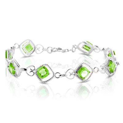 Diamond and Peridot Bracelet in .925 Sterling Silver