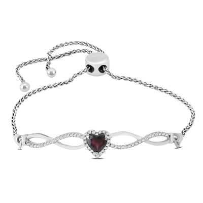 5mm Garnet and Diamond Infinity Bolo Bracelet in .925 Sterling Silver