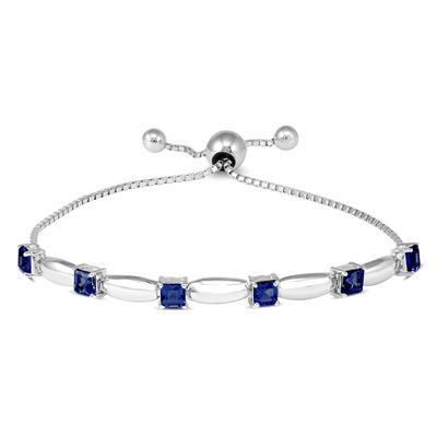 Princess Cut Created Sapphire Bolo Bracelet in .925 Sterling Silver