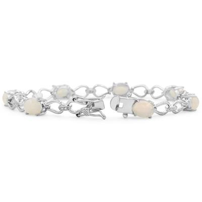 5 1/2 Carat TW Opal and Diamond Bracelet in Platinum Overlay Brass